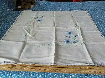 "vintage cotton small tablecloth w blue applied design 31""x34"""