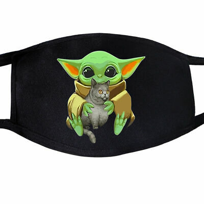 HOT!!! Baby Yoda Face Mask Black Cotton Face Masks Unisex Adult Mouth Cover Mask