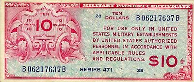Series 471 Rare $10 Military Payment Certificate!!!!..Starts@ 2.99