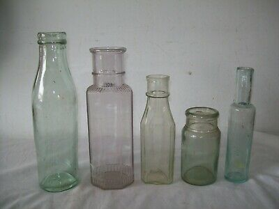 Lot of  5 aqua  blown glass Pickle and condiment bottles,
