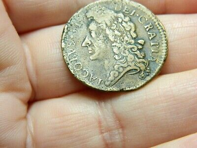 Un researched Post Medieval gun money coin King James 2nd detecting detector
