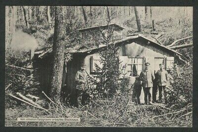 Log Cabin built by German Soldiers: German World War I postcard 1910s