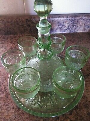 Green depression glass cordial wine set decanter, tray, six glasses