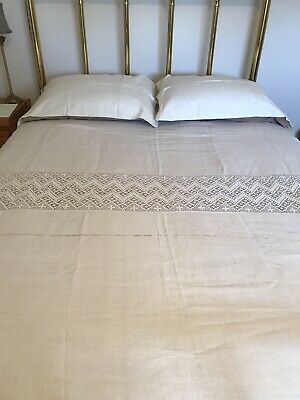 Antique Coverlet w/Crochet Inserts Initailed & Dated 1848
