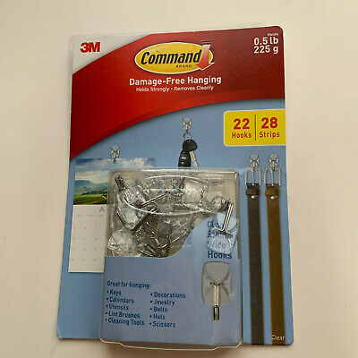 3M Command Damage-Free Hanging 22 Clear Small Wire Hooks & 28 Strips NEW