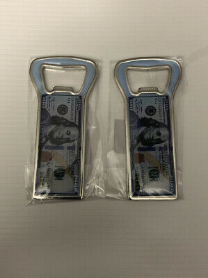 2 Pc 100 Dollar Bottle Opener With Magnetic Back