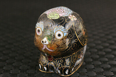 Rare chinese old enamels Cloisonne Painting dog figure Statue Table decoration