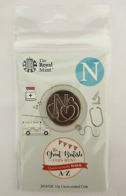 2018 Royal Mint New Uncirculated 10p Coin Letter N (NHS) in a pack