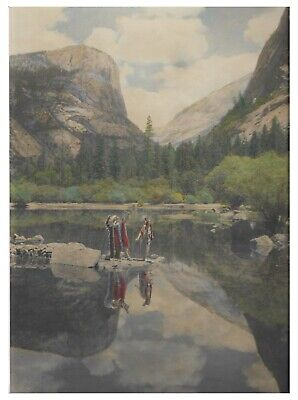 Early California Hand-Colored Photograph of Yosemite 'Indians' -1910 Arts&Crafts