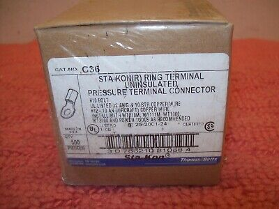 New Box of 500 Thomas + Betts Sta-kon Ring Terminals C36 12 AWG #10 Bolt, USA
