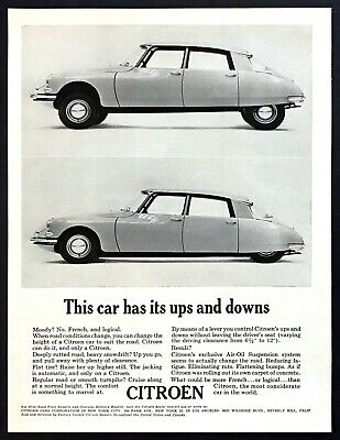 """1961 Citoen DS Sedan 2 photo """"This Car has it's Ups and Downs"""" vintage print ad"""