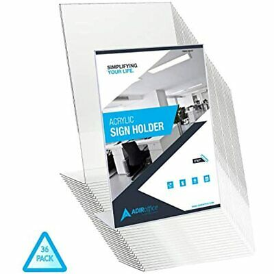 AdirOffice Slant-Back Photo-Sign Holder Frame Side Insert Clear Acrylic (36 5x7