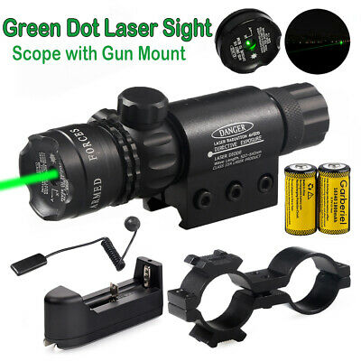 Tactical Green Laser Sight Dot Scope For Hunting 16340 Battery Charger Remote US