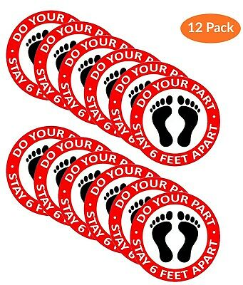 12 PACK Social Distancing Floor Decals Stickers, DO YOUR PART STAY 6 FEET APART