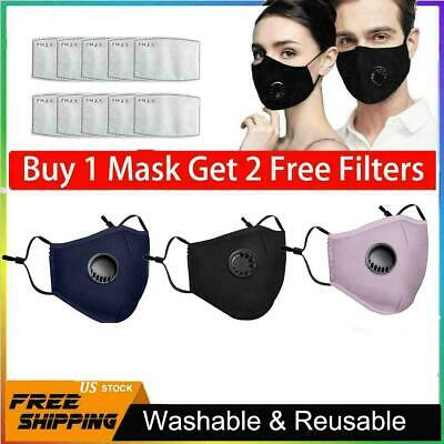 Reusable Mask With Breathing Valve PM2.5 Face Mask filters Activated Carbon