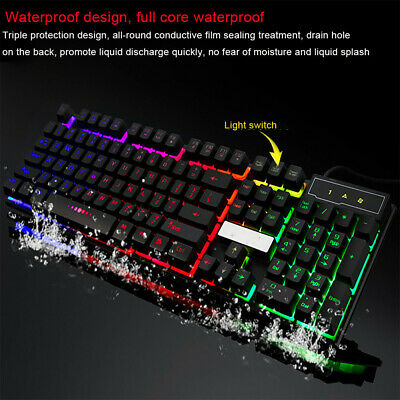 Multicolor Crack LED Illuminated Backlit USB Wired PC Waterproof Gaming Keyboard