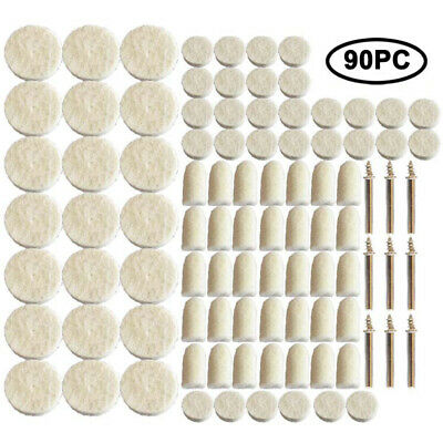 90Pcs Felt Polishing Buffing Pads Wheel Wool Plastic Dremel Rotary Tool Kit Set