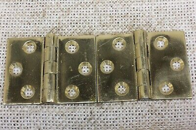 "2 old door Hinges Butt polished cast brass interior shutter 2 x 1 1/2"" vintage"