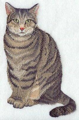 Large Embroidered Zippered Tote - Tabby Cat C7941