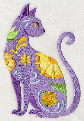 Large Embroidered Zippered Tote - Flower Power Cat L4021