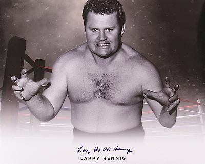 Larry 'The Axe' Hennig Wrestling Legend Signed LE 16x20 B&W Photo (JSA)