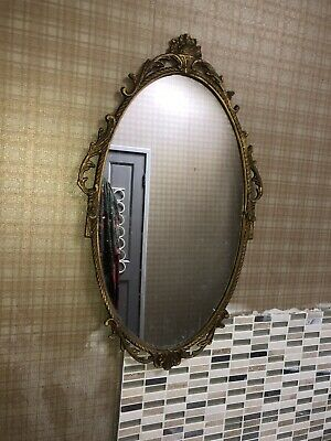 Vintage gold OVAL Ornate  WALL MIRROR