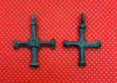 SET Ancient Vikings Bronze Cross Pendant 10-14 century