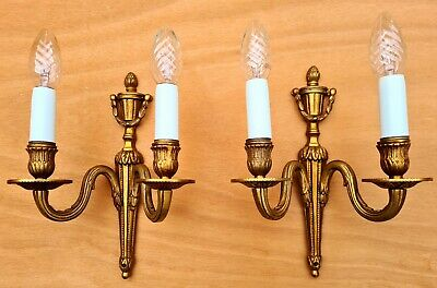 """Nice pair vintage French """"Empire""""- style two light wall sconces ++"""