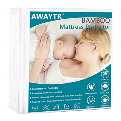 Bamboo Waterproof Queen Mattress Protector Hypoallergenic Ultra Soft Breathable