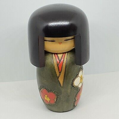 """Vintage KOKESHI Doll Japan Hand Painted Carved KIMONO Floral 5.5"""" Signed"""