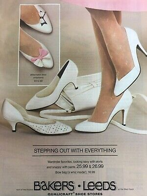 1984 Bakers Leeds Qualicraft Shoes Vintage Print Advertisement White Stockings