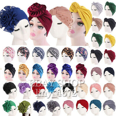 Top Knotted African Twisted Headwrap Chemo Cap Women Stretch Cotton Turban Hat #