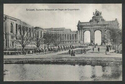 German Cuirassiers at Cinquantenaire Brussels German World War I postcard 1910s