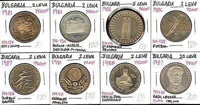 """8 BULGARIA """"PROOF"""" COINS 2, 5, 20 LEVA 1981-88 One Silver $4 S&H-USA!"""