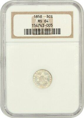 1858 3cS NGC MS64 - Scarce Type 2 - 3-Cent Silver - Scarce Type 2