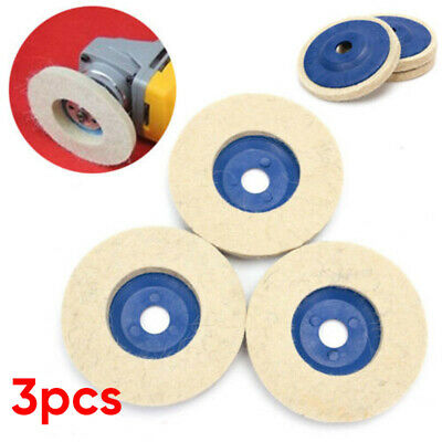3x 100mmRound Polishing Wheel Felt Wool Buffing Polishers Pad  Buffer Disc Tools