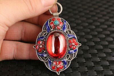 chinese old jade red stone jewel inlay cloisonne tibet silver pendant