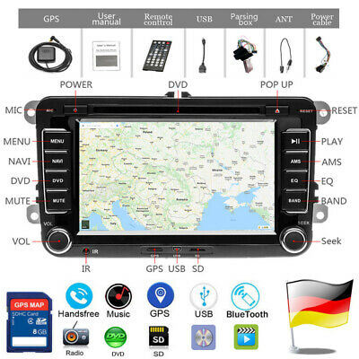AUTORADIO 2DIN 7'' GPS NAVI DVD Für VW GOLF PASSAT TOURAN TIGUAN POLO BLUETOOTH