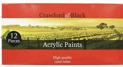 Crawford & Black Acrylic Colour Paint - Set Of 12 (12ml)