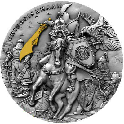 Chinggis Khaan 2 oz Antique finish Silver Coin 5$ Niue 2019