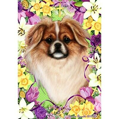 Easter House Flag - Red and White Sable Tibetan Spaniel 33476