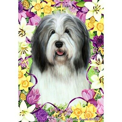 Easter House Flag - Blue and White Bearded Collie 33170