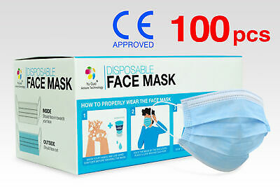 (100) CE Approved 3-Ply Non-Woven Disposable Face Masks FaceMasks