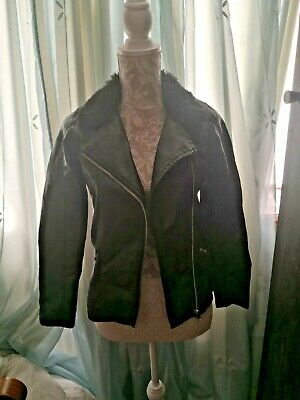 Miss Evie Black Faux Leather Jacket Faux Fur Collar Age 13/14 Years