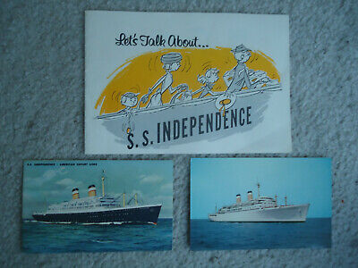 American Export Lines - ss Independence - Brochure & (2) Post Cards - 1957