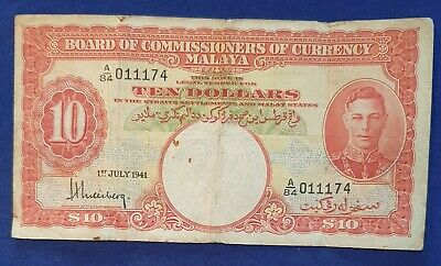 Malaya & British Borneo - 1st July 1941 $10 Banknote