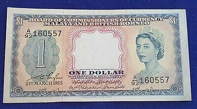 Malaya & British Borneo - 21st March 1953 $1 Banknote  Extra Fine