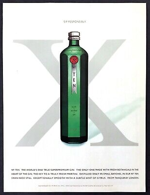 "2000 Tanqueray No.TEN Super Premium Gin Bottle photo ""Sip Responsibly"" print ad"