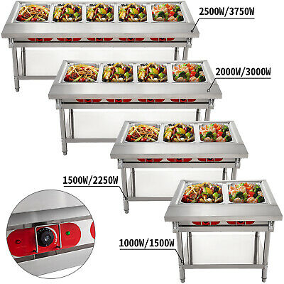 2/3/4/5 Pan Steamer Steam Table Bain Marie Food Warmer Server 110V Hot Well