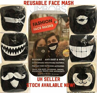 Mouth Face Mask Reusable Washable Black Adult Lips Teeth Zip Moustache Designs